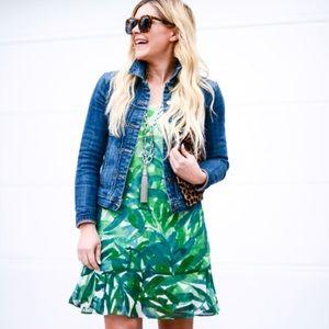 CAbi Castaway Green Jungle Print Dress sz XL